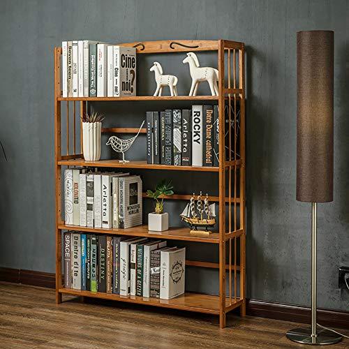 TOPYL 4 Tier Boekenplank Bamboe, Verdikt Compact Multifunctioneel Vloerstaand Schermrek Voor Records Boeken