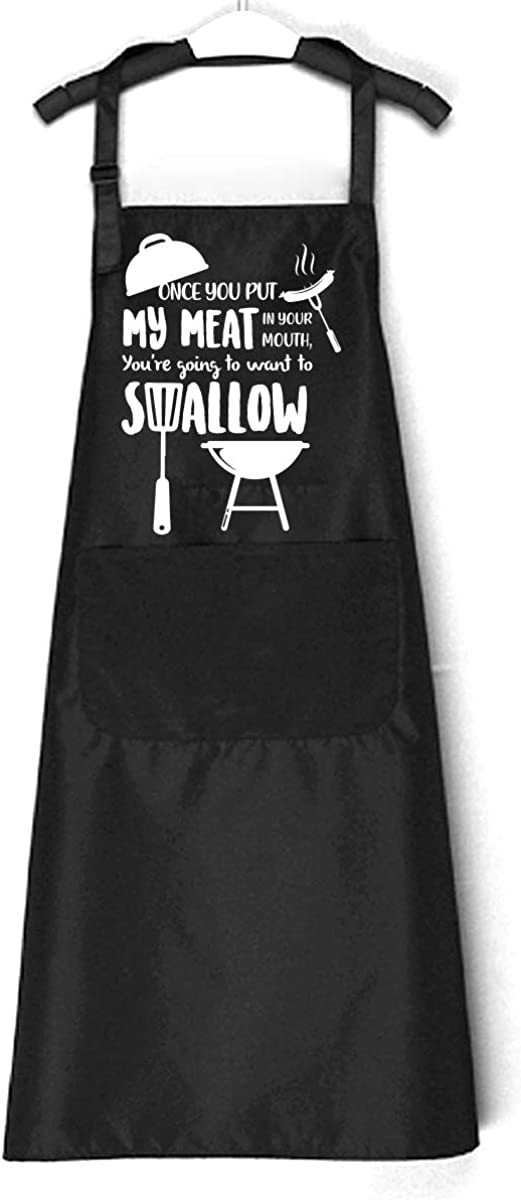 Chillake Funny BBQ Aprons for Men Women | Once You Put My Meat i
