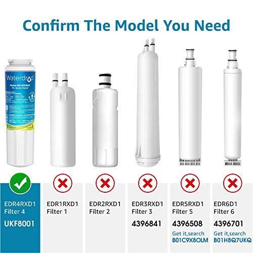 3 Pack Waterdrop UKF8001 Fits for PUR, Jenn-Air, Maytag UKF8001, UKF8001AXX, UKF8001P, EDR4RXD1, Whirlpool 4396395, Puriclean II, 469006 Refrigerator Water Filter
