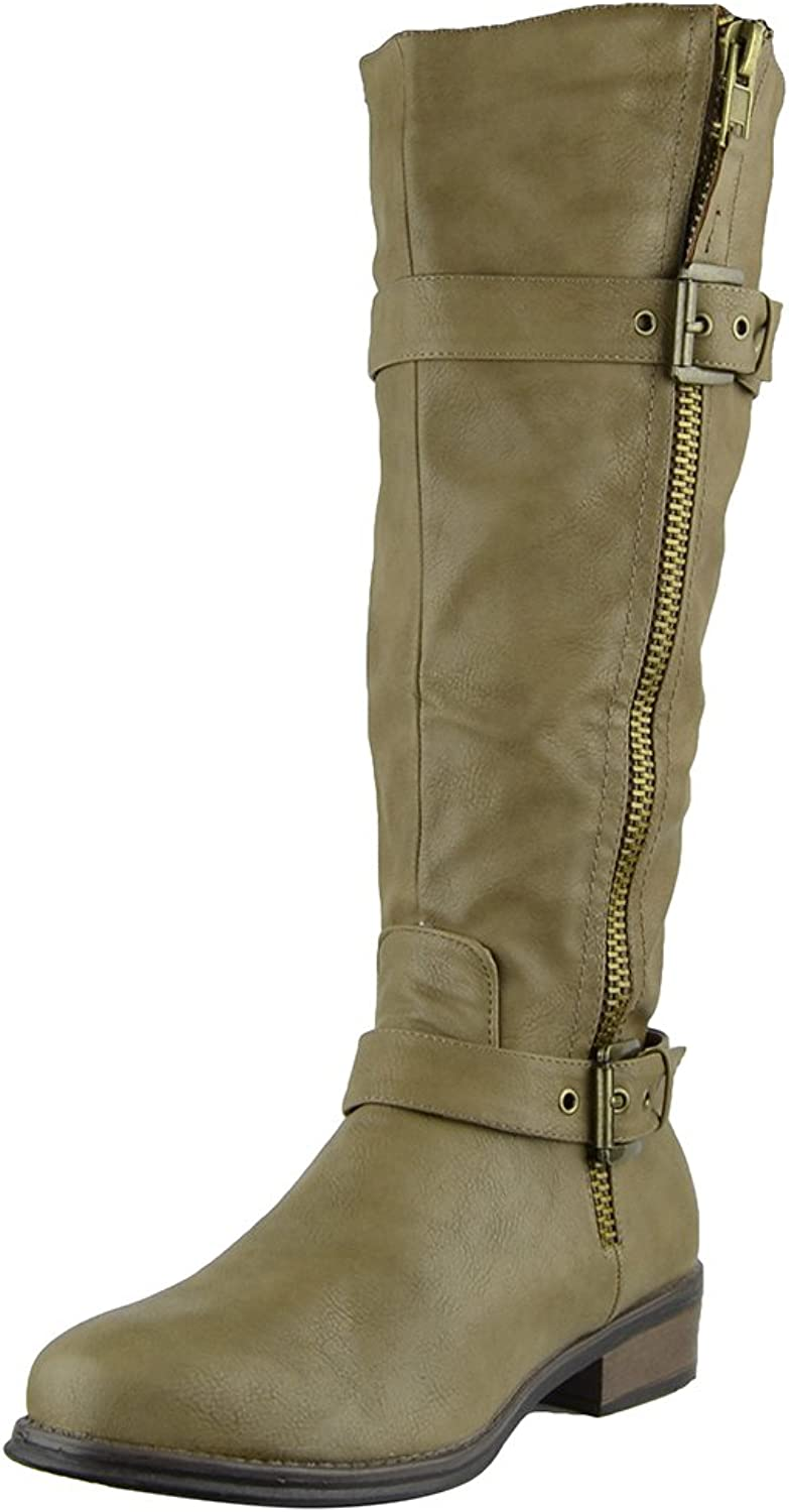Womens Knee High Boots Back Zip Up Side Studded Casual Dress shoes