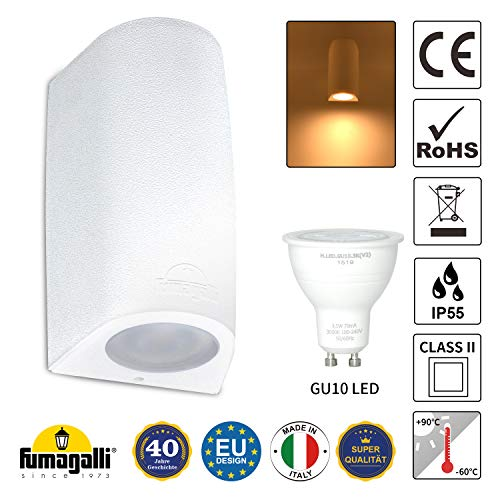 LED Wandlampe IP55 Innen Außen Wandleuchte Nach unten Lampe Badezimmer Strahler Weiß inkl. 3,5W GU10 Leuchtmittel Warmweiß 230V