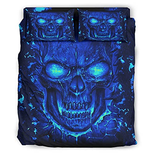Yzanswer Skull Blue Warm 4 Piece Bedding Quilt Coverlets Polyester for Bedroom white 175x218cm