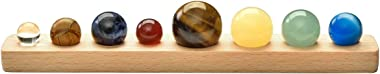 Jovivi Solar System Planets Crystals Healing Stones Chakr Decor Natural Tumbled Gemstone Sphere Ball with Wood Base for Home Office Desk Decorations Yoga Balancing Reiki