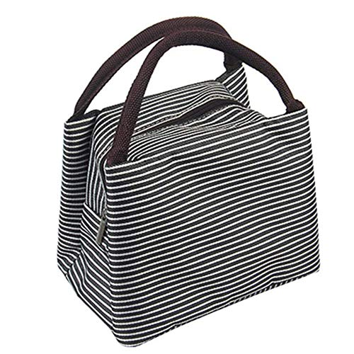 Nuluxi Tote Schwarz Streifen Lunch-Taschen Lunch Lunchpaket Thermische Kühler Tote Brotdosen Isoliertasche Ideal für Picknick Urlaub Abendessen Grillen oder eine Betriebsfeier(Schwarze Streifen)