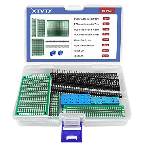 XTVTX 40 piezas Doble cara Kit de placa PCB Proto Encabezado de 10 piezas 40 pines 2,54 mm Conector Para placas de circuito de experimentación electrónica y soldadura de bricolaje