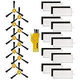 aotengou 10 filtros y 10 cepillos laterales para Lefant M201 M301 M501-A M501-B M520 T700 M571Robot Aspirador Kit de accesorios de repuesto