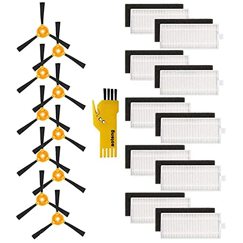 aotengou 10 filtri e 10 spazzole laterali per robot aspirapolvere Lefant M201 20 confezioni kit di accessori di ricambio