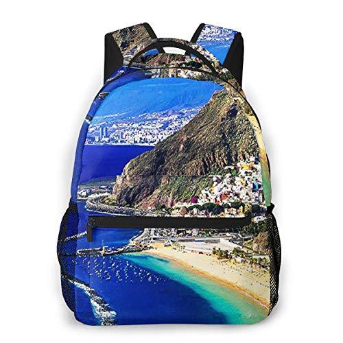 RAHJK Mochila Tipo Casual Mochila Escolares Mochilas Estilo Impermeable para Viaje De Ordenador Portátil hasta 14 Pulgadas San Andres Tenerife