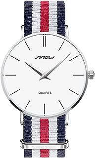 ToFuture Drive Travel Fashion Men/Women Unisex Stripe Nylon Band Quartz Watch 30M Waterproof Silver White