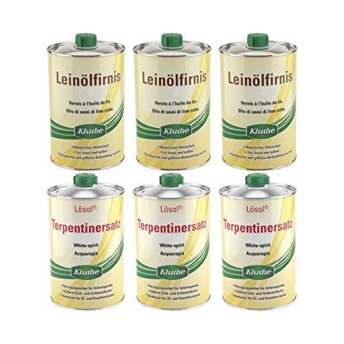 Set Kluthe 3 x Leinölfirnis 1 Liter + 3 x Lösol Terpentinersatz 1 Liter