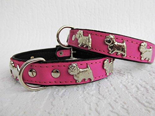 Lusy011 *Westie* Hunde Halsband, Leder, Halsumfang 30-36cm, ROSA, NEU(PL.19.9.3-32)