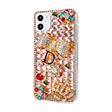 i phone 5 case gems - iPhone 11 Pro Max Bling Glitter Case,Luxury Shiny Diamond Crystal Rhinestone Sparkly Jewelled Gemstone Crown Bow 3D Handmade Clear Cover Case for iPhone 11 Pro Max 6.5''