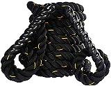 Cuerdas Heavier Rope Cuerda de Batalla   38 mm de diámetro 12 m de Longitud Cuerdas de Aptitud Pesada   para Gimnasio Ejercicio Gimnasio Cuerda con Entrenamiento básico, Negro (Color : Black Yellow)