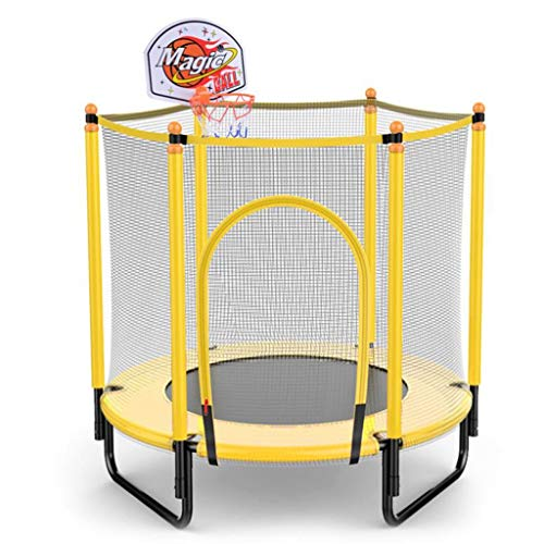 M-YN 4FT Trampoline for Kids Outdoor with Enclosure Basketball Hoop for Trampoline Safety Small Toddler Trampoline Indoor (Color : Yellow)