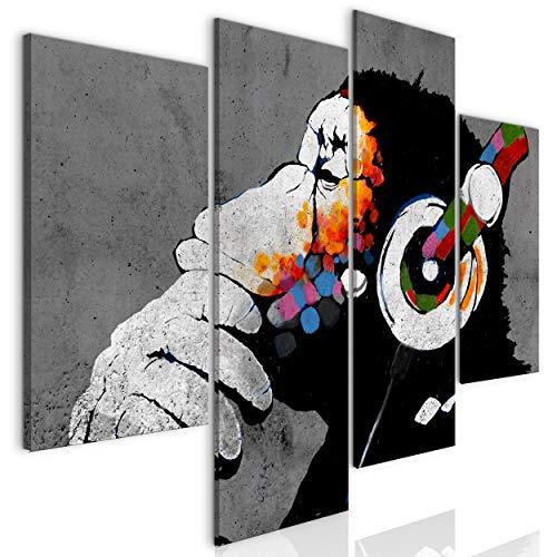 decomonkey Bilder Banksy Dj AFFE 126x98 cm 4 Teilig | Leinwandbilder Bild auf Leinwand Vlies Wandbild Kunstdruck Wanddeko Wand Wohnzimmer Wanddekoration Deko Tiere