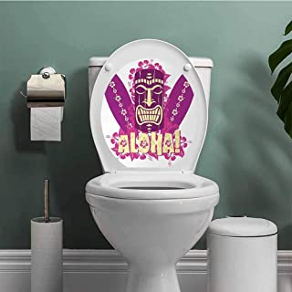 ThinkingPower Tiki Bar self-Adhesive Tiki Culture Figure Surfboards Hibiscus Hand Drawn Aloha Art Resistant to Water Hot Pink Purple Pale Yellow W13XL16 INCH