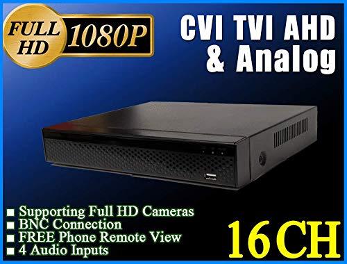 LEXAcctv 16CH 4in1 Full HD 1080P 2MP DVR XVR Supporting TVI AHD CVI Analog (CVBS) CCTV Cameras Free P2P Phone Remote Viewing