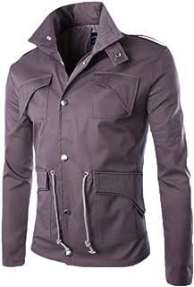 Howely Men's Front-Zip Lightweight Multi-Pocket Casual Overcoat Jackets