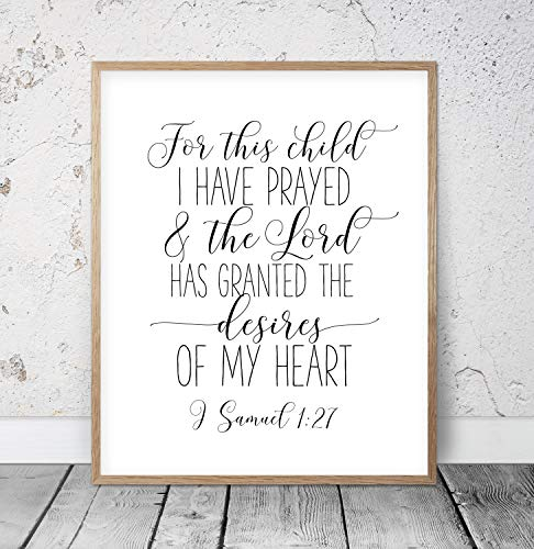 Bible Verse Printable For This Child I Have Prayed 1 SAMUEL 1:27 Nursery Wall Art Typography Quote Christian Nursery Nursery Scripture Wood Pallet Design Wall Art Sign Plaque with Frame wooden sign