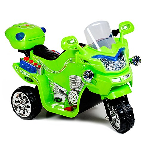 motorcycle toy for kids Ride on Toy, 3 Wheel Motorcycle for Kids, Battery Powered Ride On Toy by Lil' Rider – Ride on Toys for Boys and Girls, 2 - 5 Year Old - Green FX (80-KB901G)