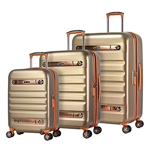 Eminent Koffer-Set Gold Nostalgia 3-teilig Hartschalenkoffer aus Polycarbonat 4 leise Doppelrollen TSA Schloss Gepäck-Set Champagner