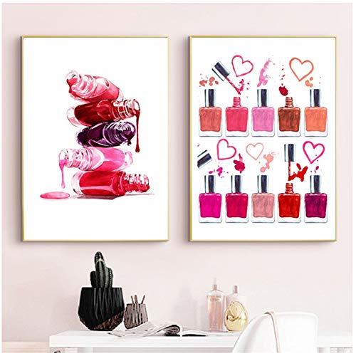 Esmalte de uñas Decoración para el hogar Arte Lienzo Pintura Maquillaje Ilustración Belleza Cartel Uñas Salón Estudio Pared Imágenes-50x70cmx2pcs Sin marco