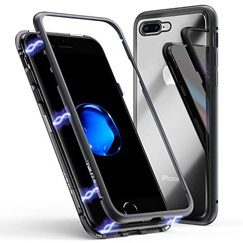 iPhone 8 Plus Case,iPhone 7 Plus Case, ZHIKE Magnetic Adsorption Case Metal Frame Tempered Glass Back with Built-in Magnet Cover for Apple iPhone 7Plus/8 Plus (Black, iPhone 7 Plus/8 Plus)