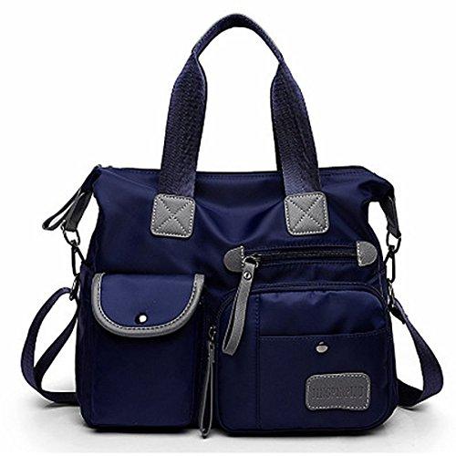 SODIAL blu Canvas Bag nuovo modo delle signore impermeabile Oxford Borsa Casual Nylon Tracolla sacchetto della mummia di grande capienza