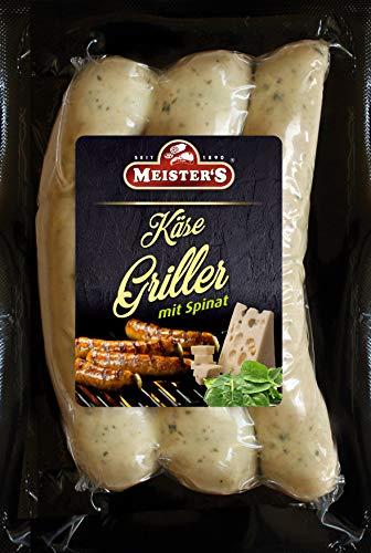 BBQ Käsegriller mit Spinat | Gourmet Bratwurst mit Käse Emmentaler | Bautzner Wurst zum Grillen und Braten | 300g