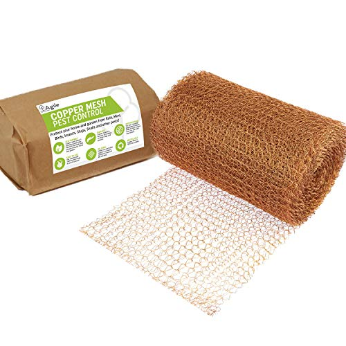 Agile Home and Garden Copper Mesh for Pest Control 6m / 20ft | Mouse, Rat, Slug, Snail, Insect and Rodent Control | Rodent Mesh, Snail Repellent, Pigeon Deterrent | Pest Exclusion Wire Mesh Roll