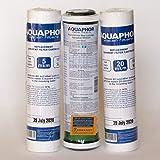 Kit (juego) de 3 filtros de repuesto, de 2,5 x 10 pulgadas SL (20 micras + 5 micras + filtro de bloqueo de carbono) para purificador de agua, sistemas de ósmosis y filtros de debajo, del fregadero
