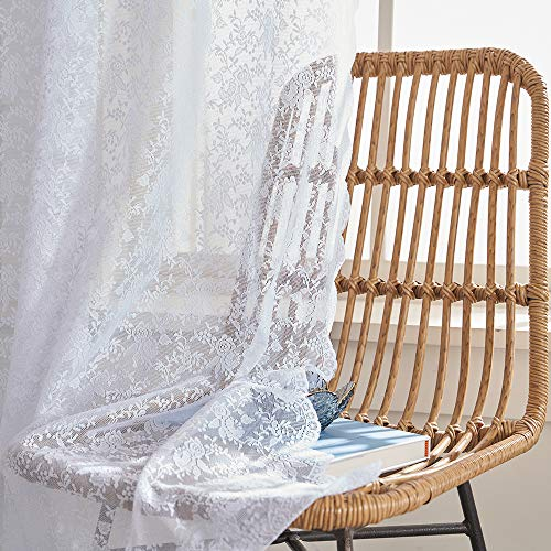 Sheer Lace Curtains 108 inch Long-White Flower Pattern Country Curtains Rod Pocket 2 Panel 52 W x 108 L Inch,White