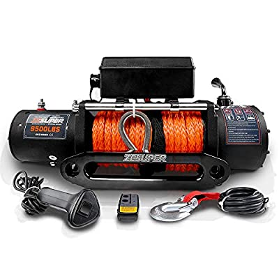 ZESUPER 9500-lb. Load Capacity Electric Winch Kit,Waterproof IP67 Electric Winch with Hawse Fairlead, with Both Wireless Handheld Remote and Corded Control Recovery (9500-Rope)