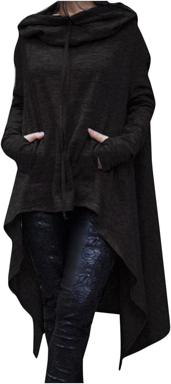 Womens Long Sleeve Cowl Neck Asymmetrical Hemline Flowy Tunic Top Fall Fashion Hooded Sweatshirts with Pockets