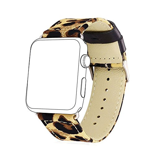 Per Apple Watch 38mm/42mm, Jedulin Fashion Classic Cheetah Leopard tela iWatch cinturino in pelle per Apple Watch serie 3, Serie 2, serie 1, sport, Edition