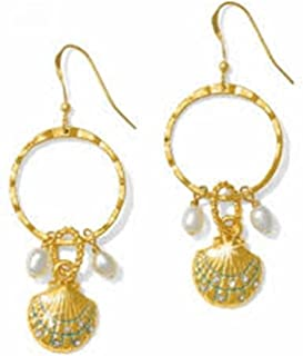 Brighton Aqua Shores Gold Dangle Shell Wire Earrings