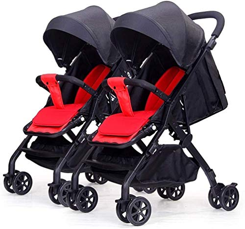 Buy TZZ Double Stroller Lightweight One-Hand Compact Tandem Seats with 5-Point Safety System Pushchair for Newborn and Toddler (Color : Black)