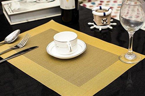 Tischset Platzset Clest F&H BOX glod Platzmatte gewebt aus Kunststoff 45x30 cm(2er Set)