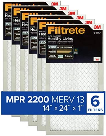 Filtrete 14x24x1 AC Furnace Air Filter MPR 2200 Healthy Living Elite Allergen 6 Pack exact dimensions product image