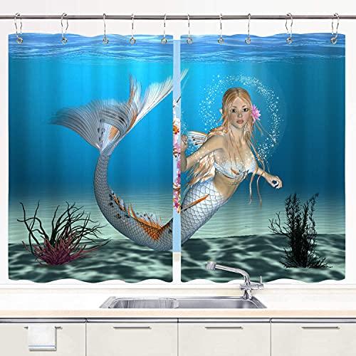 BOKEKANG Cortinas para Ventana de Cocina,3D Render Digital de una Linda Sirena sobre Fondo Azul del océano de fantasía,Cortinas Cortas con Decoración de Ganchos para Baño,Paquete de 2,140x100cm