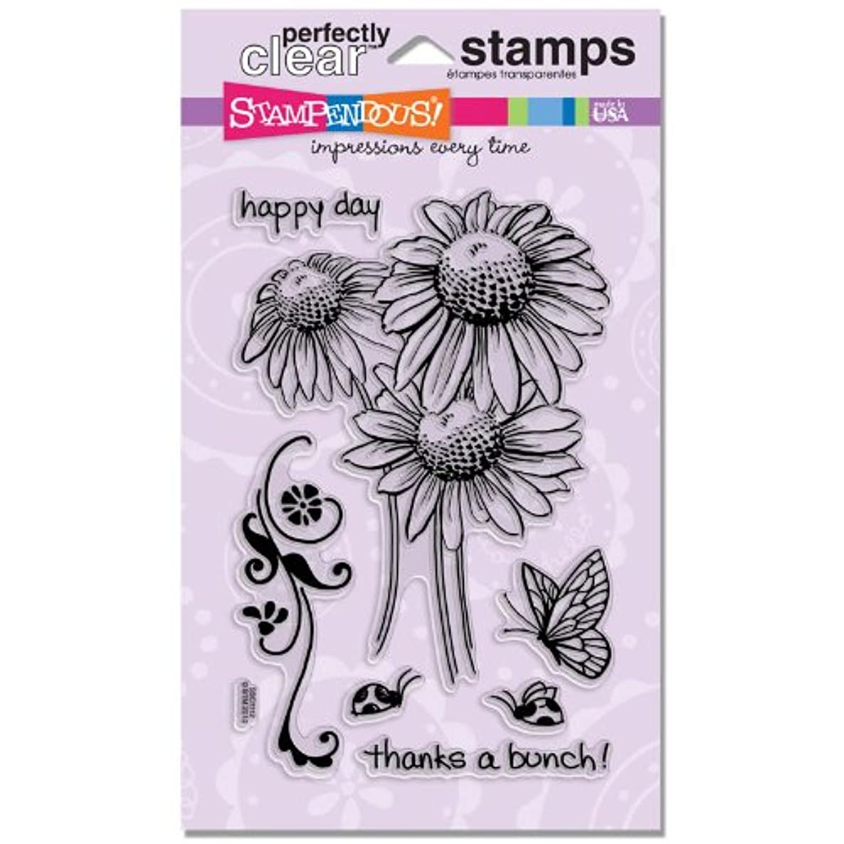 STAMPENDOUS SSC1112 Perfectly Clear Stamp, Daisy Thanks