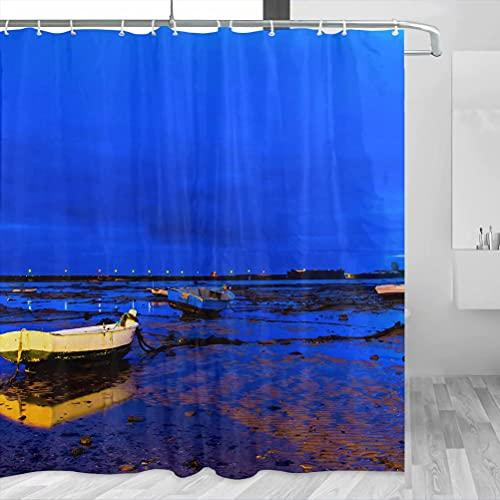 Spain Caleta Beach Cadiz Cortina de ducha Viaje Decoración de baño Set con ganchos Poliéster 72x72 pulgadas (YL-05272)