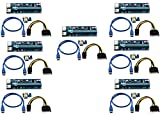 LONGXI (7 unidades de 6 pines alimentados PCI-E PCI Express Riser – VER 006C – 1X a 16X PCIE USB...