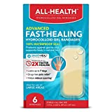 All Health Advanced Fast Healing Hydrocolloid Gel Bandages, Large, 6 ct | 2X Faster Healing for First Aid Blisters or Wound Care