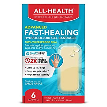 All Health Advanced Fast Healing Hydrocolloid Gel Bandages Large 6 ct   2X Faster Healing for First Aid Blisters or Wound Care