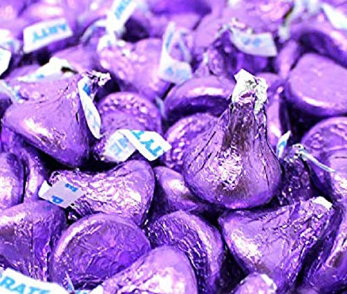 CrazyOutlet Hershey's Kisses Purple Foils Milk Chocolate Candy, Valentines Day Candy, 2 lbs