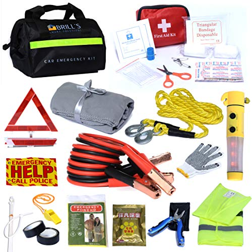 BRILL'S SMART SOLUTIONS Car Emergency Roadside Tool Kit- Auto Assistance kit Includes: First Aid kit, Warning Triangle, Jumper Cable, SOS Flashlight with Hummer, Warming Bags, Blanket and More