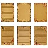 NUOBESTY Carta da Lettere di Cancelleria Vintage Carta Kraft Foderata di Carta da Lettere ...