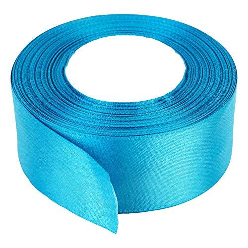 40mm x 22m de Doble Cara Raso Rollo cinta - Carrete Dual tela poliéster para costura, ARTES Y MANUALIDADES, Lazos, vestidos, Regalo Envoltura - Decoración la boda, cumpleaños, prendas - Azul Turquesa
