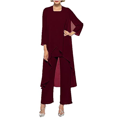 bf54b7129e187 The Peachess Women s Chiffon Pant Suits Mother of The Bride 3 Pieces Long  Jacket